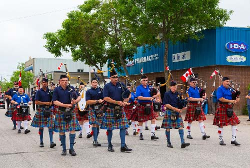 Celebrating Canada Day during FunFest 2019 with the Legion Pipe Band