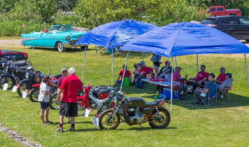 Celebrating Canada Day during FunFest 2019: Vintage motorcycle display