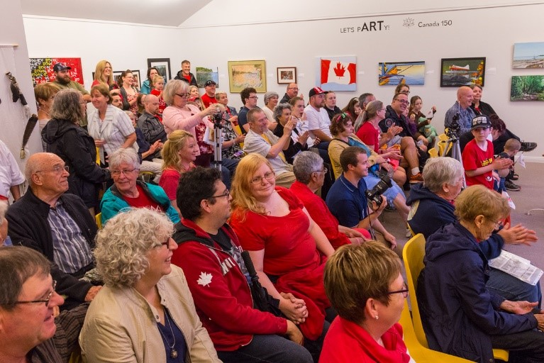 Crowd in the art gallery during the opening of the 1992 Callander time capsule