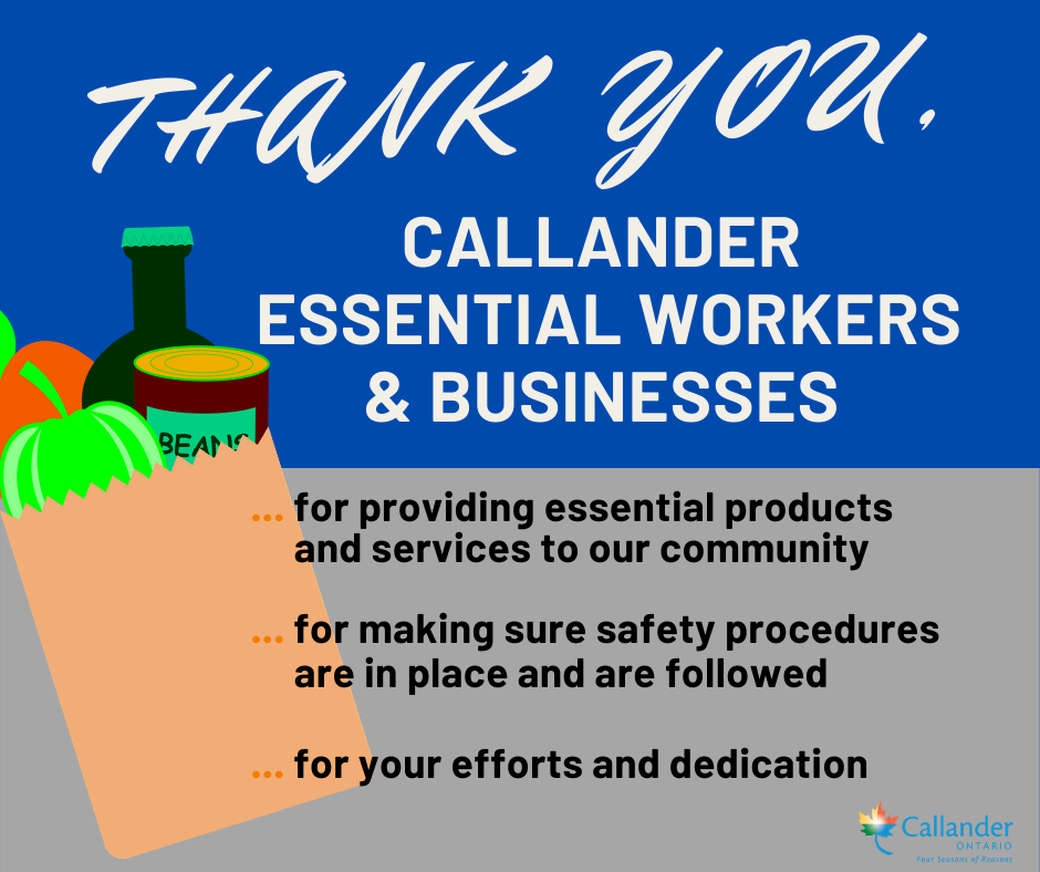 Thank you Callander businesses and essential workers